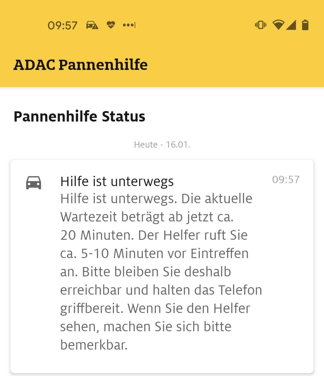 Screenshot der Meldung über Verzögerung